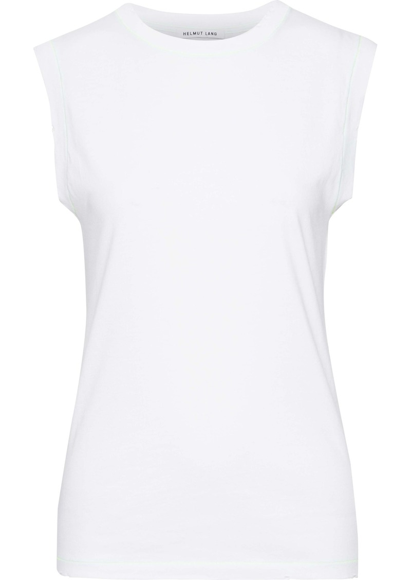 Helmut Lang Woman Neon-trimmed Distressed Cotton-jersey Tank White