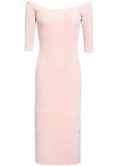 Helmut Lang Woman Off-the-shoulder Ribbed Chenille Dress Pastel Pink