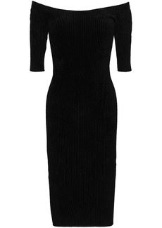 Helmut Lang Woman Off-the-shoulder Ribbed Chenille Dress Black