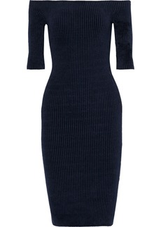 Helmut Lang Woman Off-the-shoulder Ribbed Chenille Dress Midnight Blue