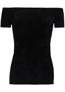 Helmut Lang Woman Off-the-shoulder Ribbed Chenille Top Black