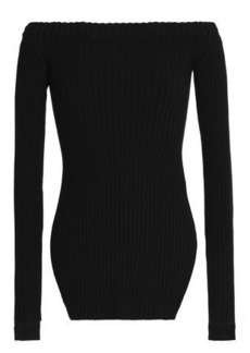 Helmut Lang Woman Off-the-shoulder Ribbed Silk-blend Top Black