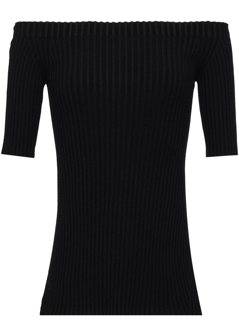 Helmut Lang Woman Off-the-shoulder Ribbed Stretch-silk Top Black
