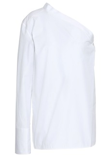 Helmut Lang Woman One-shoulder Cotton-poplin Top Off-white