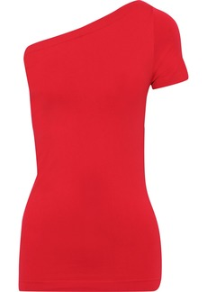 Helmut Lang Woman One-shoulder Stretch-knit Top Red