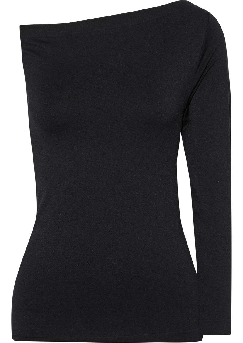 Helmut Lang Woman One-shoulder Stretch-knit Top Black