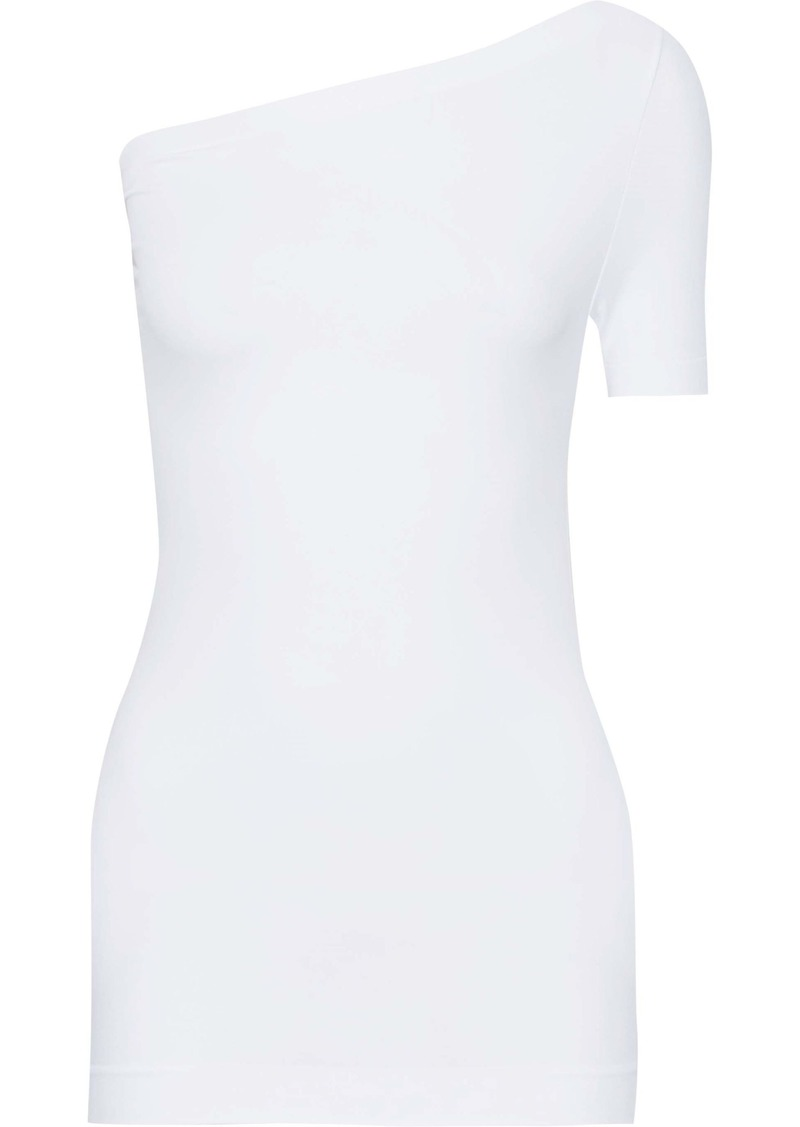 Helmut Lang Woman One-shoulder Stretch-jersey Top White