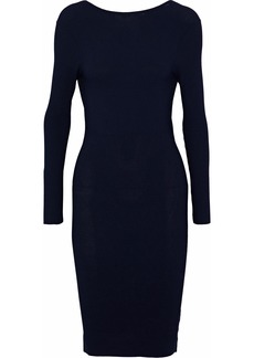 Helmut Lang Woman Open-back Ribbed-knit Dress Navy