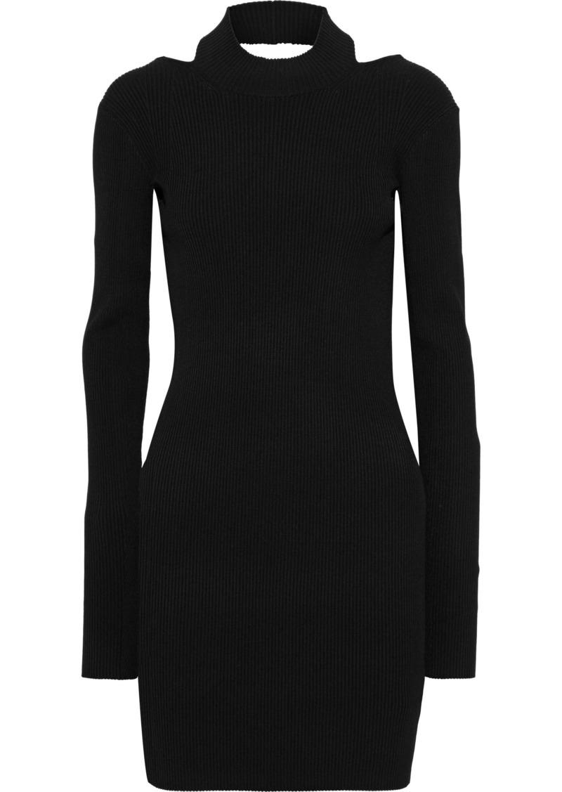 Helmut Lang Woman Open-back Ribbed-knit Mini Dress Black