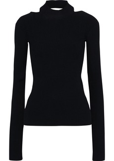 Helmut Lang Woman Open-back Ribbed-knit Sweater Black
