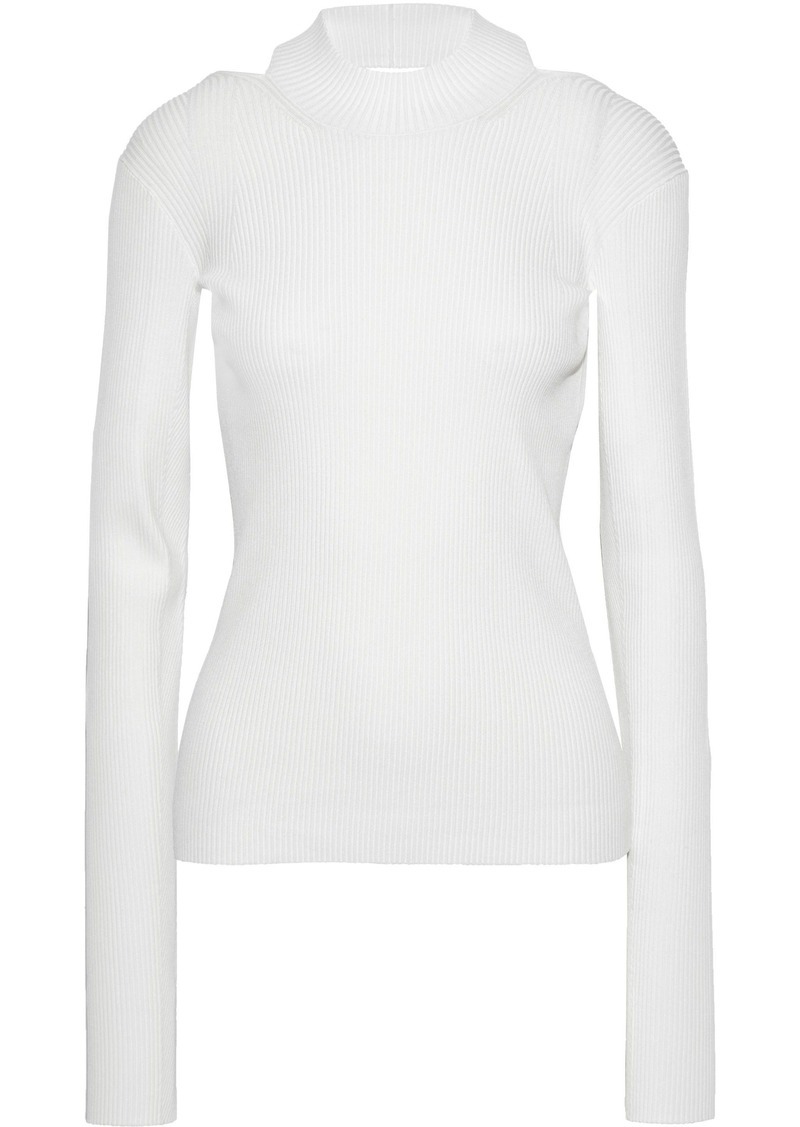 Helmut Lang Woman Open-back Ribbed-knit Top White