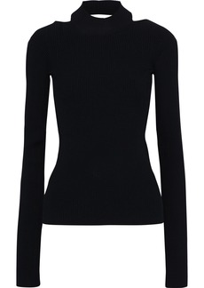 Helmut Lang Woman Open-back Ribbed-knit Top Black