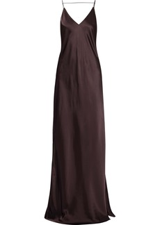 Helmut Lang Woman Open-back Satin Gown Chocolate