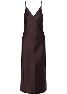 Helmut Lang Woman Open-back Satin Midi Slip Dress Chocolate