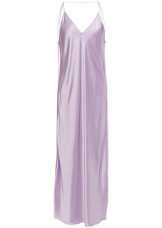 Helmut Lang Woman Open-back Satin Midi Slip Dress Lilac