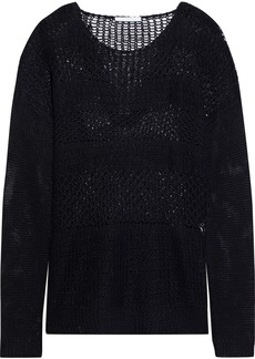 Helmut Lang Woman Open-knit Linen Sweater Black