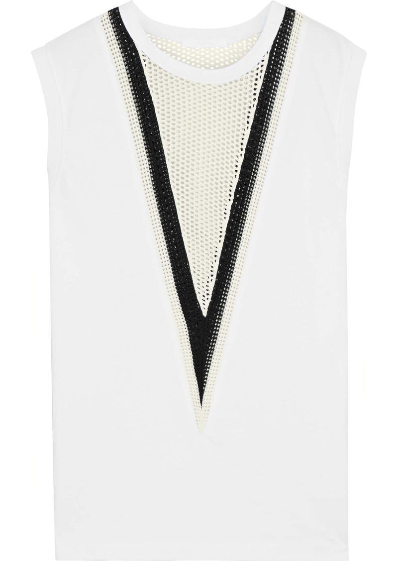 Helmut Lang Woman Open Knit-paneled Cotton-jersey Tank White