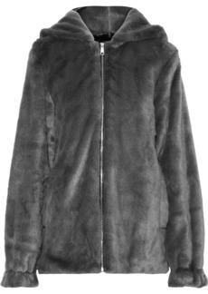 Helmut Lang Woman Oversized Faux Fur Hooded Jacket Dark Gray