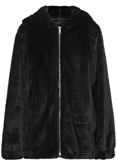 Helmut Lang Woman Oversized Faux Fur Hooded Jacket Black
