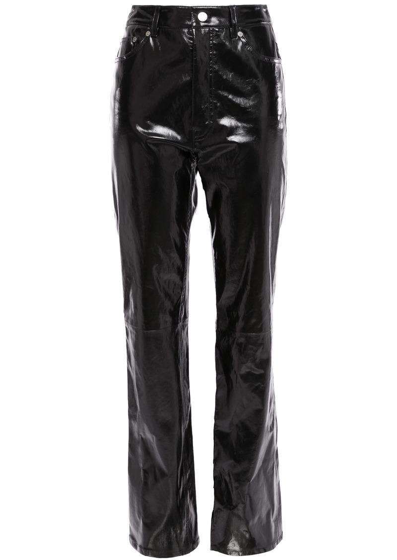 Helmut Lang Woman Patent-leather Straight-leg Pants Black