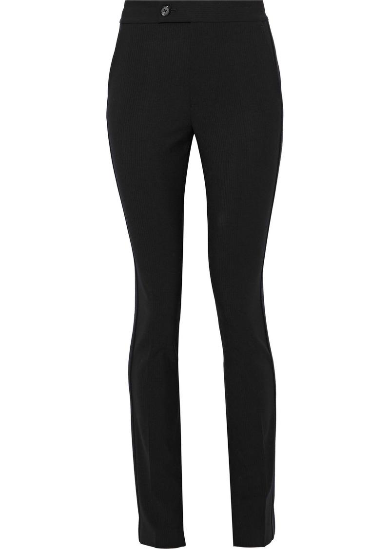 Helmut Lang Woman Pinstriped Stretch-wool Jacquard Slim-leg Pants Black