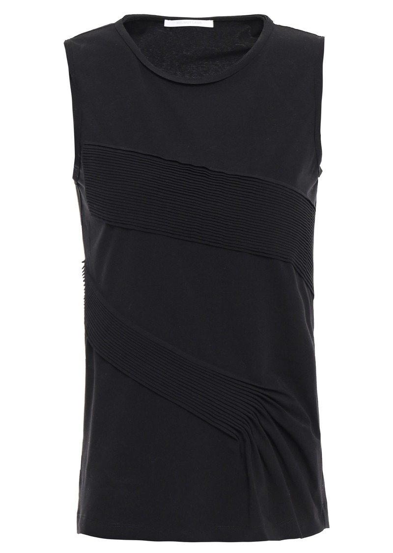 Helmut Lang Woman Pintucked Cotton-blend Jersey Tank Black
