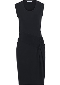 Helmut Lang Woman Pintucked Stretch-jersey Dress Black
