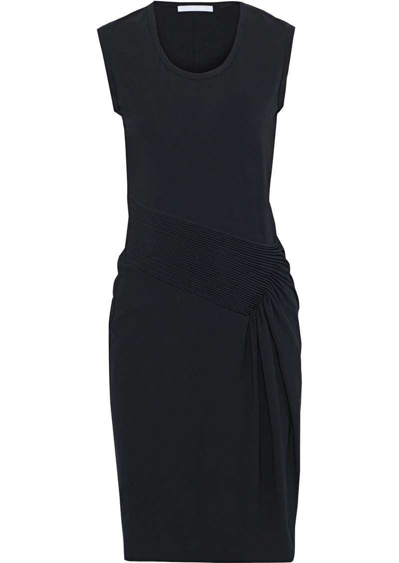 Helmut Lang Woman Pintucked Stretch-jersey Dress Black
