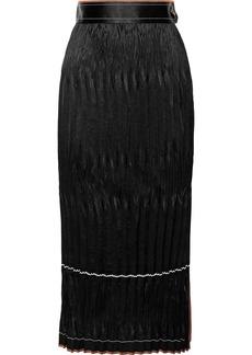 Helmut Lang Woman Plissé Crinkled-satin Midi Skirt Black