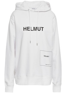 Helmut Lang Woman Printed Cotton-blend Hooded Sweatshirt White
