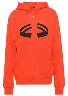 Helmut Lang Woman Halloween Printed French Cotton-terry Hoodie Bright Orange