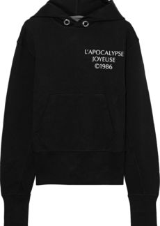 Helmut Lang Woman Printed French Cotton-terry Hoodie Black