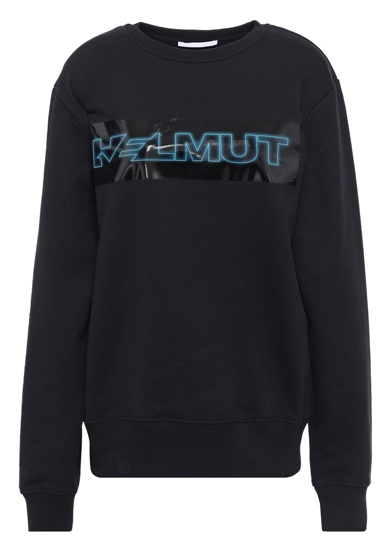 Helmut Lang Woman Printed French Cotton-terry Sweatshirt Black