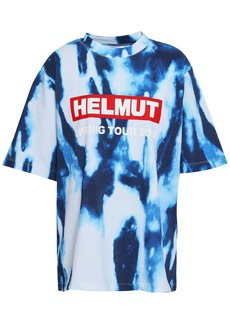 Helmut Lang Woman Printed Tie-dyed Cotton-jersey T-shirt Blue