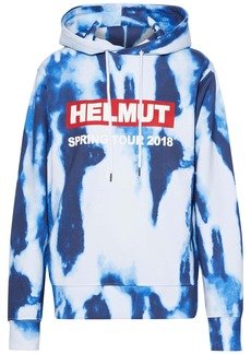 Helmut Lang Woman Printed Tie-dyed French Cotton-terry Hoodie Blue