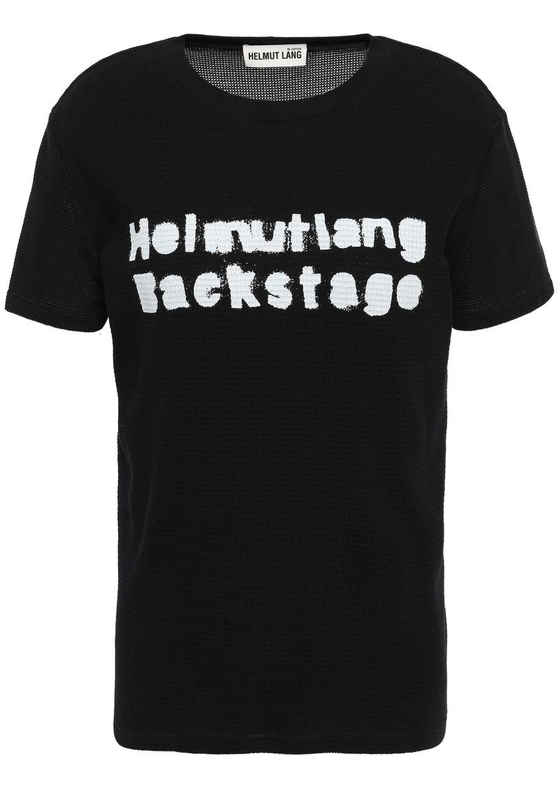 Helmut Lang Woman Printed Waffle-knit Cotton-blend T-shirt Black