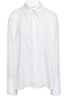 Helmut Lang Woman Pvc-trimmed Cotton-poplin Shirt White