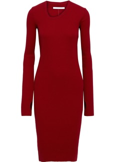 Helmut Lang Woman Ribbed Cotton Dress Crimson