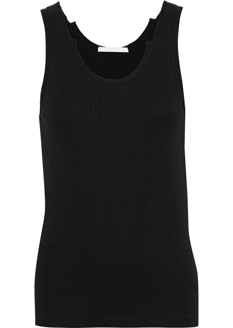 Helmut Lang Woman Distressed Ribbed Cotton-jersey Tank Black