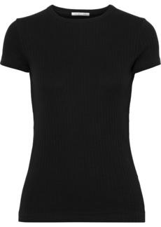 Helmut Lang Woman Ribbed Cotton-jersey T-shirt Black