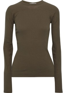 Helmut Lang Woman Ribbed Cotton Top Army Green