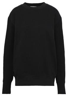 Helmut Lang Woman Ribbed Knit-paneled French Cotton-terry Sweatshirt Black