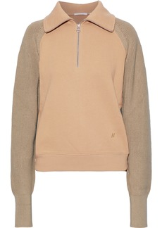 Helmut Lang Woman Ribbed Knit-paneled French Cotton-terry Sweatshirt Tan