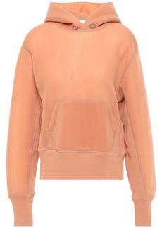 Helmut Lang Woman Ribbed Knit-trimmed Scuba Hoodie Pastel Orange
