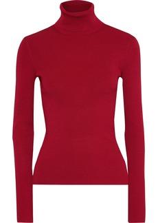 Helmut Lang Woman Ribbed-knit Turtleneck Top Brick
