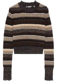 Helmut Lang Woman Ribbed Striped Wool Cotton Yak And Cashmere-blend Sweater Multicolor