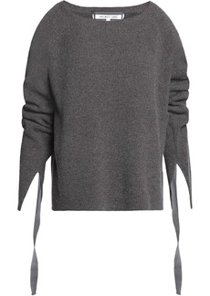 Helmut Lang Woman Ribbed Wool And Cashmere-blend Sweater Dark Gray