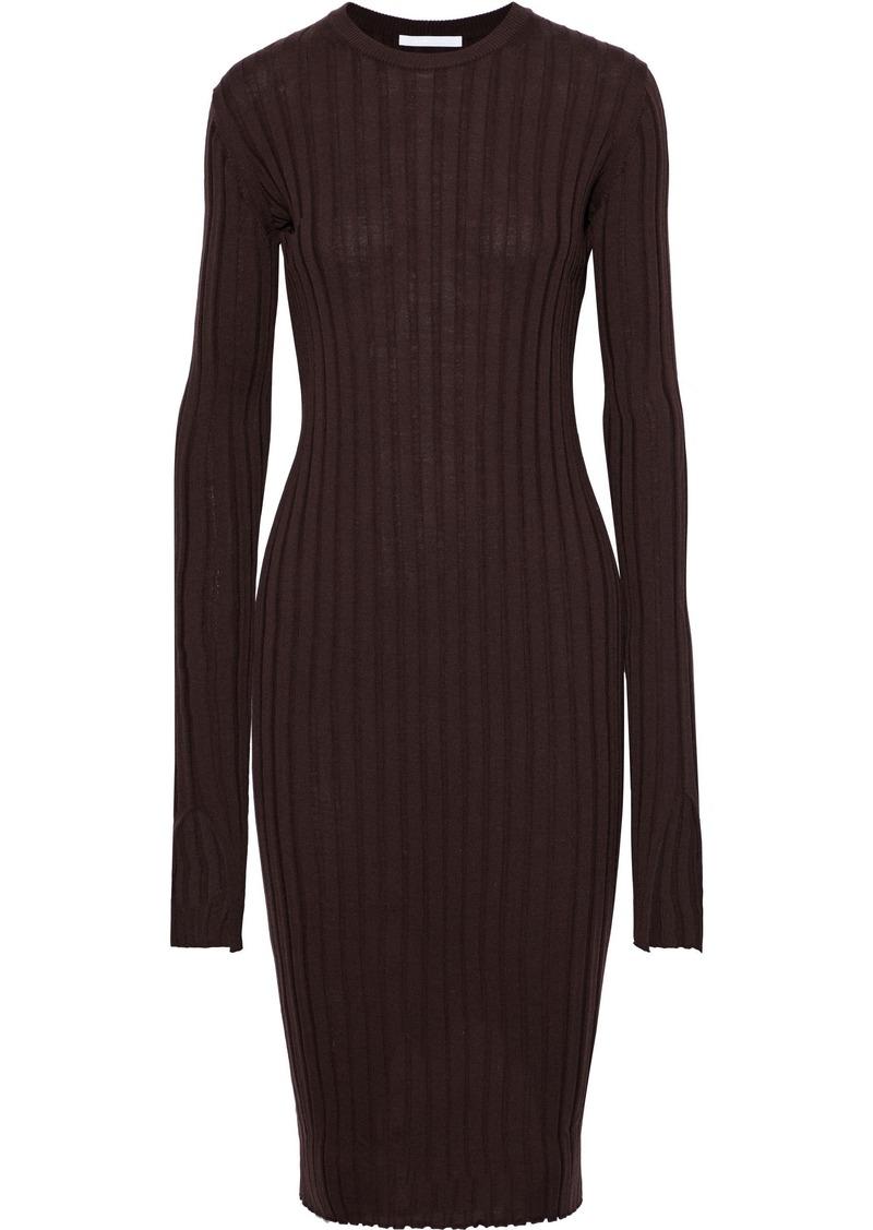 Helmut Lang Woman Ribbed Wool Dress Chocolate