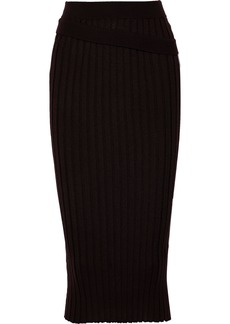 Helmut Lang Woman Ribbed Wool Midi Skirt Dark Brown