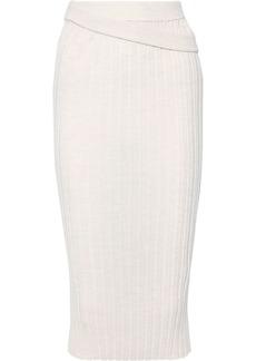 Helmut Lang Woman Ribbed Wool Midi Skirt Off-white